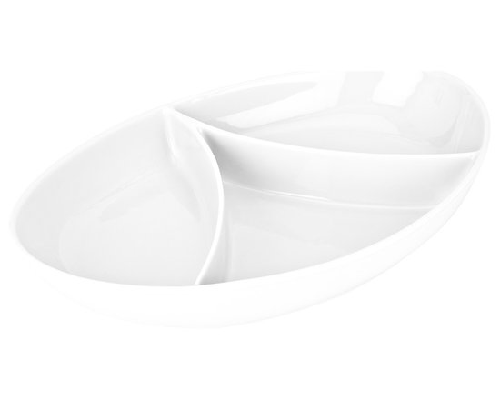 Tris Sectional Platter - A curvaceous take on a classic, this oval dish has tall walls both inside and out to keep divided contents inside. The glazed porcelain gives it a gleaming finish that's oven, freezer, and dishwasher safe.Made in Portugal.