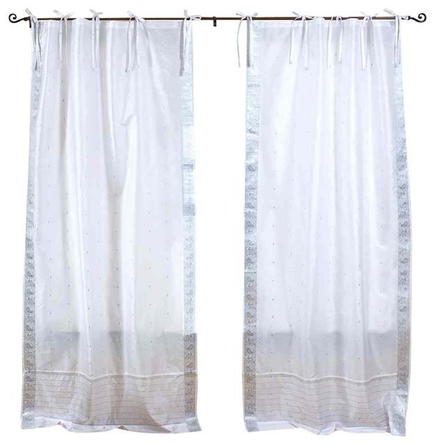 Pair Of White Silver Tie Top Sheer Sari Curtains 80 X 84