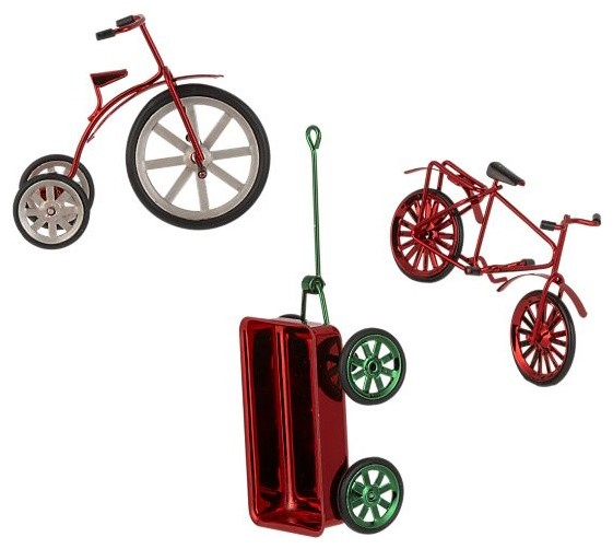 Set of 3 Pedal and Pull Ornaments modern-christmas-ornaments