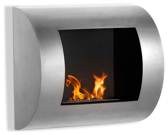 Moda Flame - Leon Wall Mounted Ethanol Fireplace - Stainless Steel - The Leon fireplace offers a contemporary curved design, creates a valiant statement in any room settings.