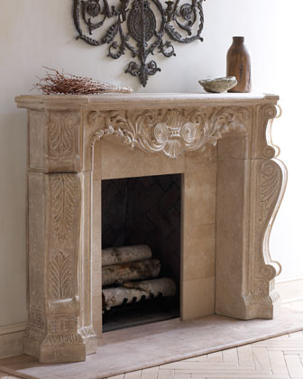 Stone Scroll Mantel traditional fireplace accessories