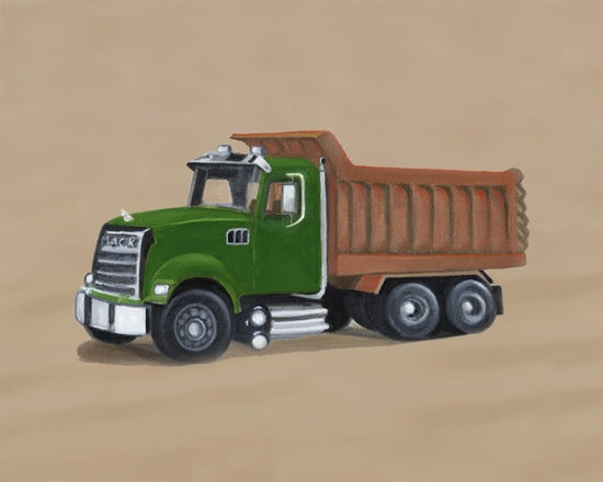 Construction Collection - Boys will be boys, and boys love trucks! One of three trucks in this sturdy collection, the Dump Truck is the perfect addition to any boy's room. Giclee canvas reproduction of an original oil painting. Perfect for your little one's nursery, bedroom, or playroom! Signed by artist Harriet Babchick. Lightweight and fully assembled with wire hanger for easy hanging. No glass or frame needed!