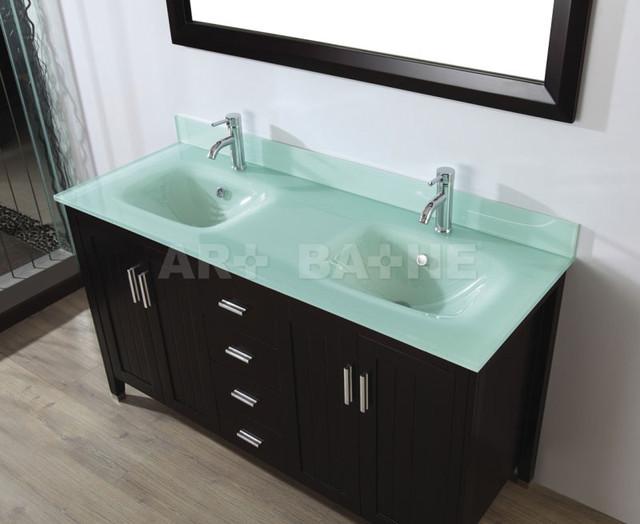 Popular 60 Inch Double Sink Modern Dark Cherry Bathroom Vanity With Choice Of
