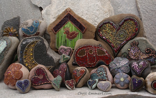 Garden Stones at https://www.etsy.com/shop/ChrisEmmertMosaic garden-sculptures