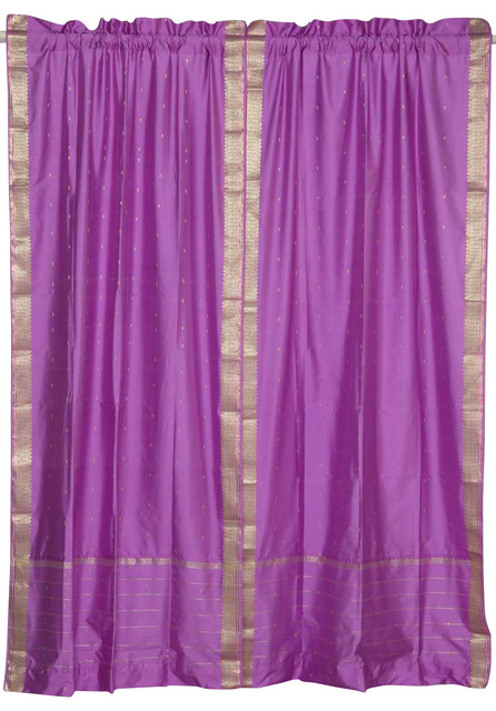 Pair of Lavender Rod Pocket Sheer Sari Curtains, 60 X 108 In. eclectic-curtains