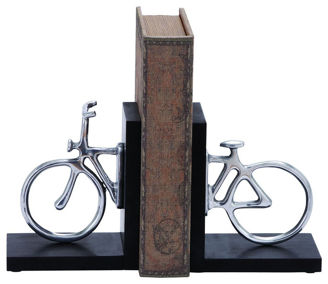 Stylish Aluminum Cycle Bookend with Attention Grabbing Design traditional-bookends