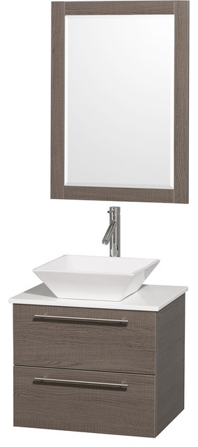 Amare 24in. Wall Vanity Set in Grey Oak w/ White Stone Top & White Porcelain S modern-bathroom-vanities-and-sink-consoles