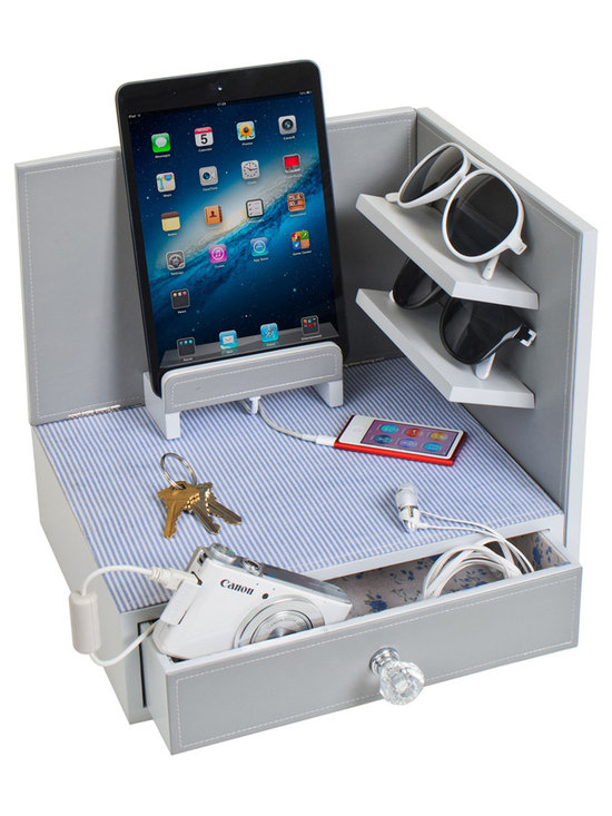Great Useful Stuff - Corner Charging and Sunglass Station - Cottage - The Corner Charging and Sunglass Station is the perfect go-to station for all of your day to day or even occasional chargeable devices.  The station features a magnetic side wall so it can be customized to fit in a right or left corner, and is the perfect catch-all for your most often used tech devices, as well as storage for your sunglasses, keys and other accessories. It has 3 separate places to charge devices: one ledge designed for a tablet, the top surface which is ideal grab and go items such as cell phones and wearable technology gadgets like watches, earbuds, fitbits, jawbones, etc, and a drawer for lesser used chargeable items like dog collars, digital cameras, etc. The Back cavity can hold a USB charger and has room to hide cords.