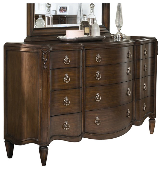 American Drew Jessica McClintock Couture 12 Drawer Triple Dresser in Mink Finish traditional-dressers-chests-and-bedroom-armoires