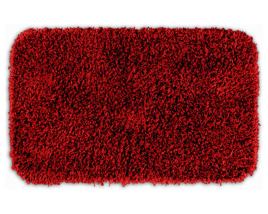 "Sands Rug - Quincy Super Shaggy Red Hot Washable Runner Bath Rug (2' x 3'4"") - Jazz up your bathroom, shower room, or spa with a bright note of color while adding comfort you can sink your toes into with the Quincy Super Shaggy bathroom collection. Each piece, whether a bath runner, bath mat or contoured rug, is created from soft, durable, machine-washable nylon. Floor rugs are backed with skid-resistant latex for safety."