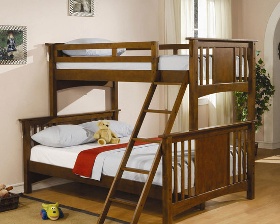 Wood Twin - Full Bunk Bed - The Bunk Bed for Three Kids, Furniture for Twins and Triplets. Full length guard rails offer safety, while the coordinating ladder will conveniently lead you from spacious full bed to the top twin bunk.