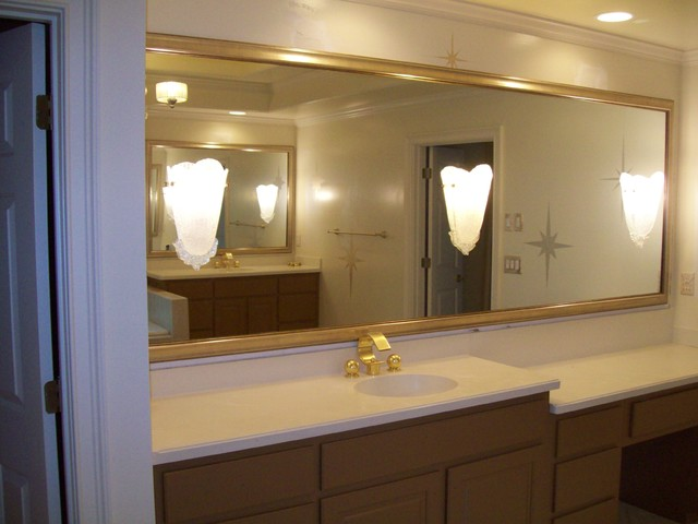 Brilliant Extraordinary Framing Bathroom Mirrors Bathroom Traditional With Wall