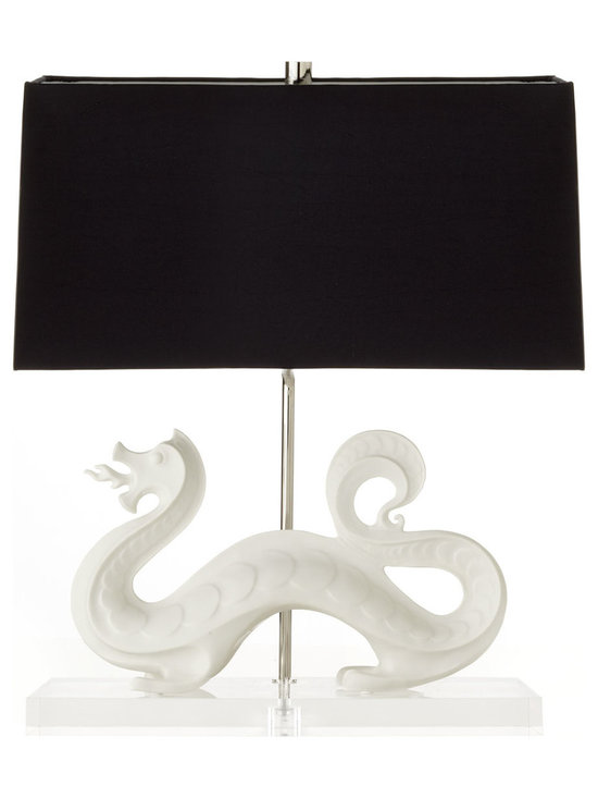 Jonathan Adler - Jonathan Adler White Dragon Lamp - This black and white beauty by Jonathan Adler features a white Chinese dragon on a Lucite base and is topped with a black shade.