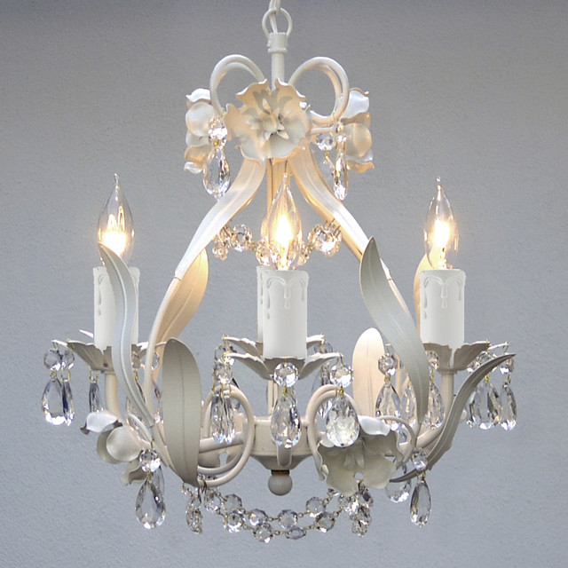 new mini 4 light white floral crystal chandelier ceiling