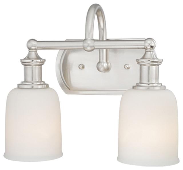 Elliot polished nickel 2 light vanity traditional bathroom vanity lighting for Traditional bathroom fixtures