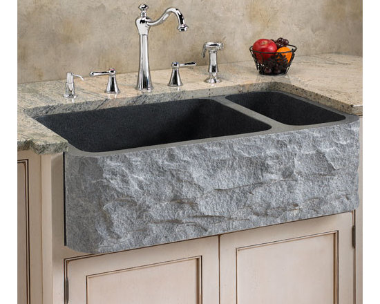 "Fresh Farmhouse Sinks - 33"" Polished Granite Double Well Farmhouse Sink with Chiseled Apron"