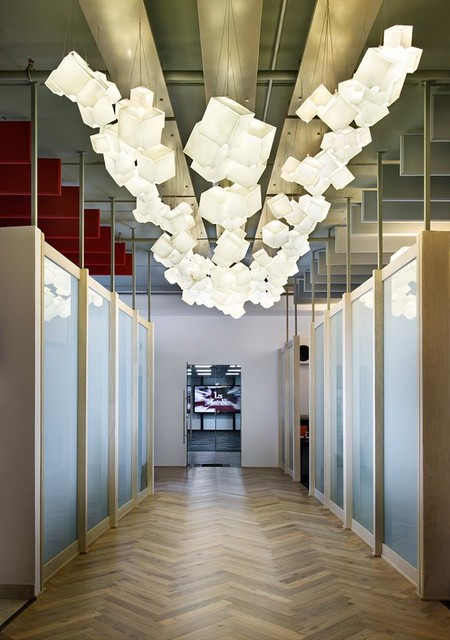 Cubes of art  - modern chandelier by GalileeLighting modern-entry