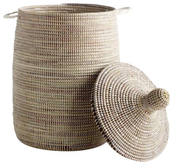 handmade african lidded basket farmhouse baskets by zestt. Black Bedroom Furniture Sets. Home Design Ideas