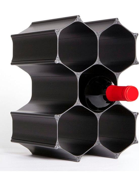 Black WineHive 6-Bottle Modular Wine Rack -