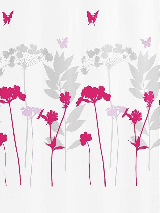 Fabric Shower Curtain - Barcelona, Berry - Wake up to a field of flowers and butterflies. This fabric shower curtain has a white background with a colorful design in your choice of color schemes — either bright berry, lavender and gray or clover, yellow-green and gray.