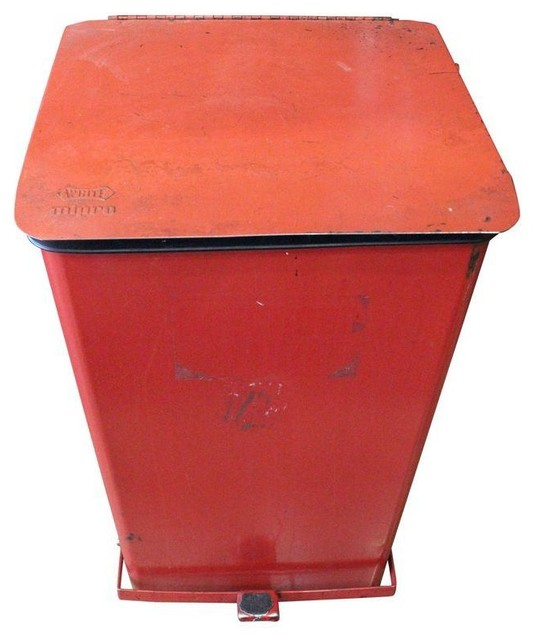 Pre-owned Vintage Red Metal Trash Can White Mipro Push Pedal - Rustic ...