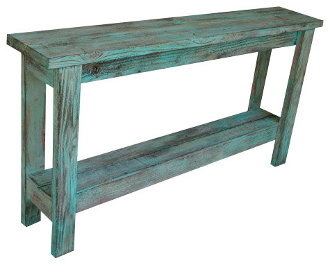 Aqua Distressed Sofa Table - Farmhouse - Console Tables - by Rustic Exquisite Designs