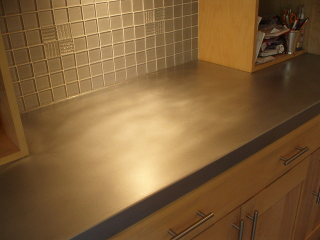 Patinated Zinc Countertop - Brooks Custom  kitchen countertops