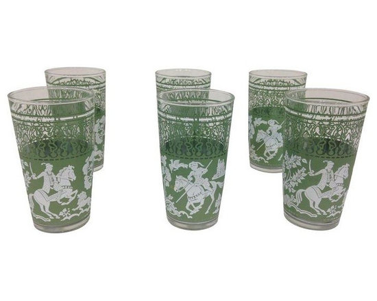 Used Jasperware Style Highball Glasses - Set of 6 - Set of 6 Mid-Century Modern highball glasses fashioned after the famous Wedgewood Jasperware patterns. This set will add a nice hint of green to your Holiday entertaining, and is in excellent vintage condition.
