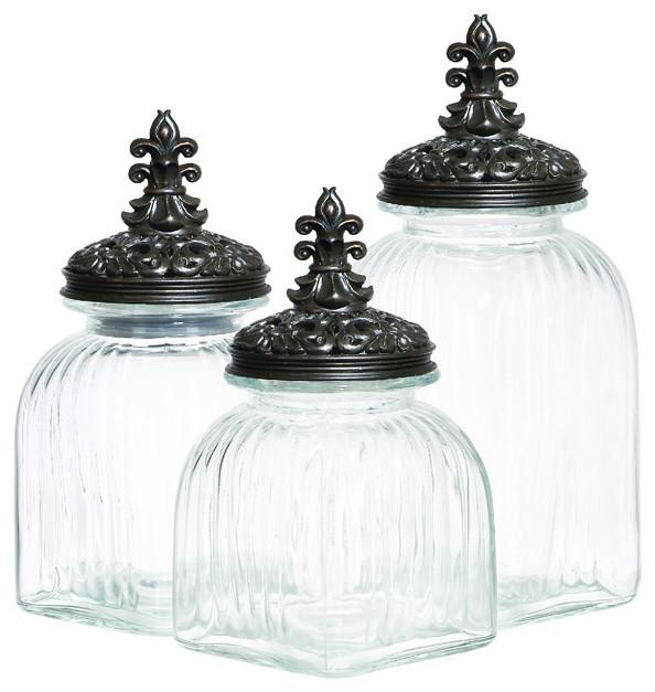 Casa cortes rococo revival fleur de lis 3 piece glass canister set black lid kitchen - Fleur de lis canisters ...