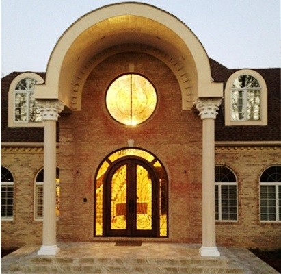 Wrought Iron Front Entry Metal Door With Circular Window ...