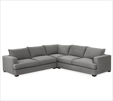 Hampton Upholstered 3-Piece L-Shaped Sectional, Textured Basketweave Metal Gray - Traditional ...