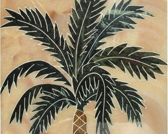 Palm tree handcrafted marble mural - size 20x20