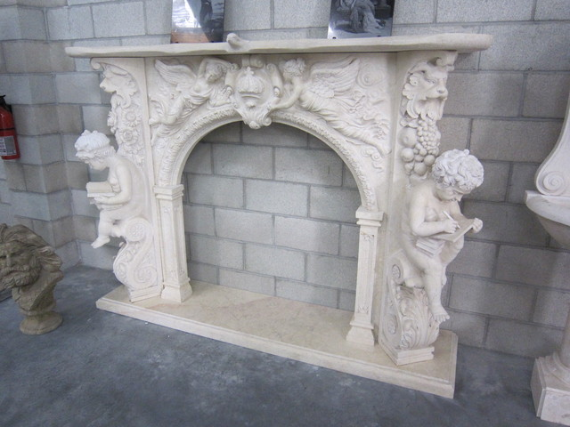 stone fireplace mantels traditional-indoor-fireplaces
