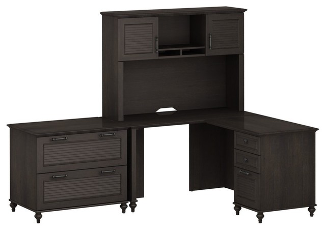 Kathy Ireland Office by Bush Furniture Home Office Bundle L-Desk with Lateral Fi traditional-desks