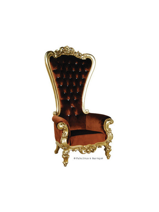 """Absolom Roche Chair - Gold & Amber Velvet - Feast your eyes upon the decadence and true luxury of Fabulous & Baroque's ultimate collection of furniture! The Absolom Roche chair, exclusive to Fabulous & Baroque, is the first in a collection of fine furniture which sets the bar beyond imagination. This sumptuous chair is nothing short of regal as it holds court no matter where you decide to feature it. Measuring 72"""" in height, the Absolom Roche commands its presence and appreciation for its true beauty. Handcrafted from mahogany and finished in gold leaf, upholstered in amber velvet and tufted. Want a different finish or fabric? We can do lacquer, gold or silver leafing and choose from an array of upholstery and tufting to make this chair truly your own."""
