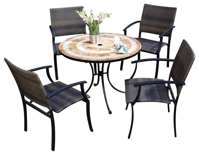 Home Styles Terra Cotta Bistro Table 2 Newport Chairs In Terra Cotta Transitional Patio
