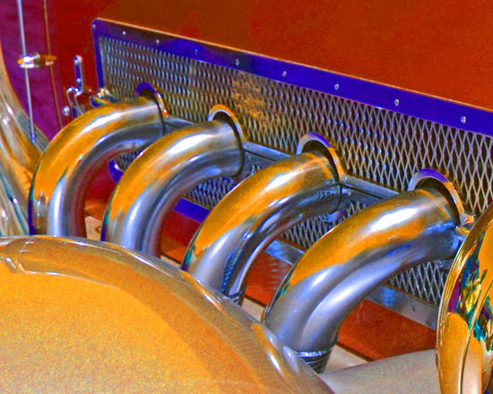 """www.WilliamBrionart.com photo gallery - Photograph by William Brion, """" Pipes"""", of the exhaust ports of a classic cars from the Concours D'Elegance auto show showing attention to fit and finish in classic cars. I pushed the colors and the saturaion to get this result. (Gallery 5)"""