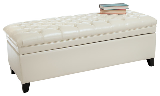 Barton Leather Storage Ottoman Bench Ivory Contemporary Footstools And Ottomans By Great
