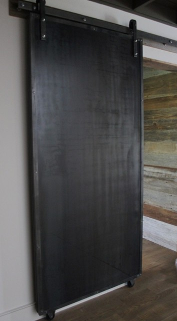 sliding doors reclaimed wood raw steel modern On steel sliding doors