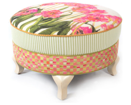 Tulip Ottoman | MacKenzie-Childs - Like sitting in an impressionist painting; a truly exquisite experience. Dreamy watercolor florals in verdant and blush tones, ticking stripes, checked accents and piping, and vines and bright blossoms that pop. Even if you reside in the harshest of concrete jungles, Tulip Furniture provides a respite as welcome and inviting as the secret garden you've long imagined.