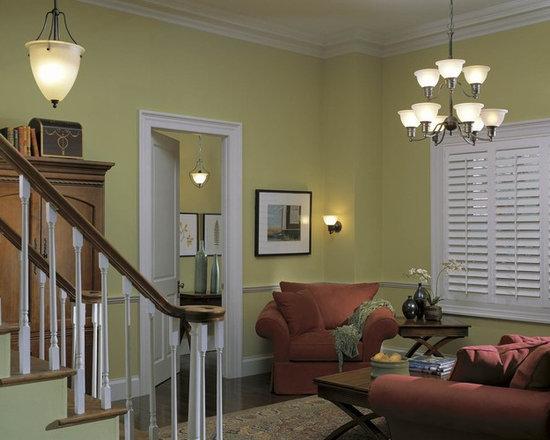 Progress Lighting Madison Three-Light Hall & Foyer - Three-light inverted pendant with white etched glass