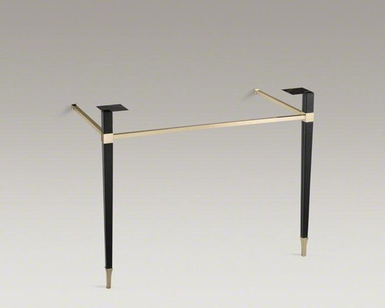 KOHLER Black Leather Kathryn® Square Tapered French Gold Brass Table Legs - Create a Kathryn console table that exudes classic elegance and clean modern lines with this pair of tapered metal legs wrapped in supple leather. Integrated side and front rails in a Vibrant® French Gold finish add a sophisticated design element and can be used for convenient towel storage.