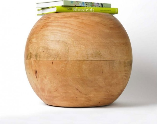 Vivaterra Mango Wood Round Stool Modern Side Tables