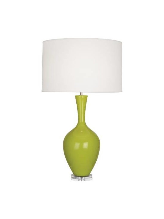 Robert Abbey - Robert Abbey AP980 Audrey 1 Light Table Lamp in Apple with Fondine Fabric Shade - The Robert Abbey Audrey Table Lamp is a graceful, curvy addition to modern side tables. From a disc of Clear Lucite, a glossy glazed ceramic body curves upward into a tapered neck. It culminates in a large pale Fondine fabric drum shade.Clear lucite base Hi lo dimmer switchBase Dimension: 5 Bulb Type: Incandescent Collection: Audrey Finish: Apple Height: 33-1 2 Material: Ceramic Number of Lights: 1 Origin: Usa Shade: Fondine Fabric Wattage: 150 Width: 19