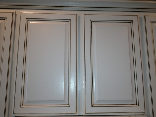 White with brown glaze kitchen cabinets by liberty usa painting