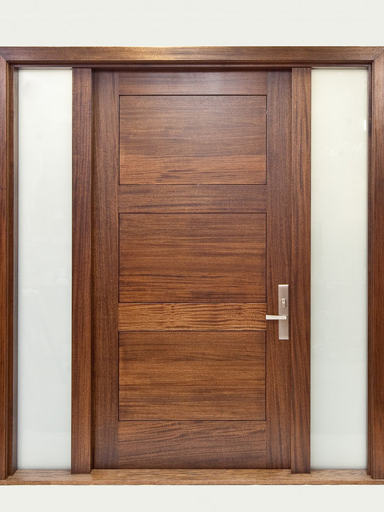 River City Woodworks in Fernie BC - Modern Doors - African mahogany, Frosted Glass, 8 foot tall door