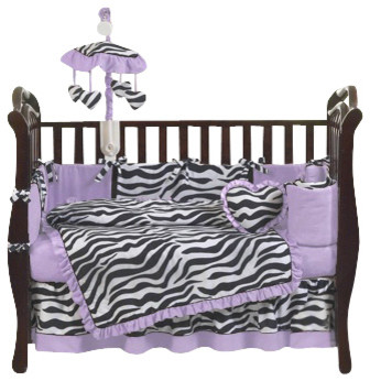 Purple Zebra 9-Piece Crib Bedding Set contemporary-cribs
