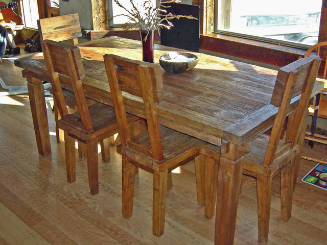 Rustic reclaimed teak dining table chairs farmhouse for Farmhouse dining room table set