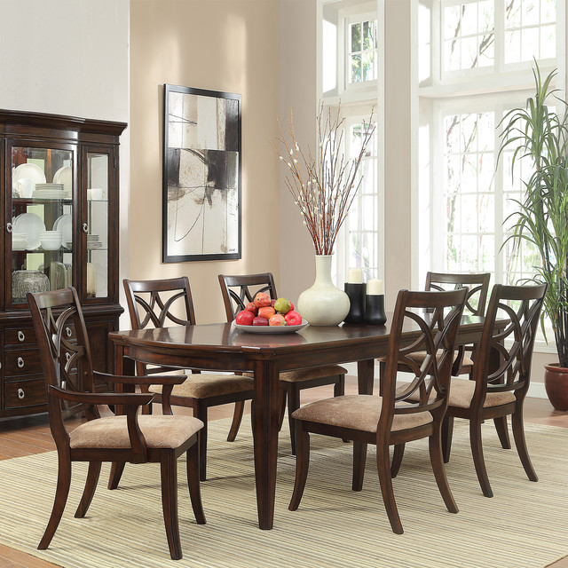 Espresso 7 Piece Traditional Dining Set Contemporary Dining Tables