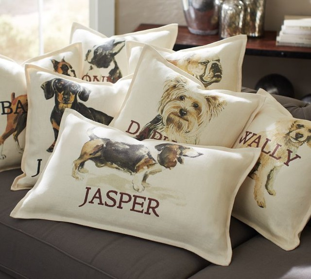 Personalized Dog Pillow Covers - Eclectic - Decorative Pillows - by Pottery Barn
